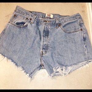 Levi's 501 denim button fly cutoff shorts size 36